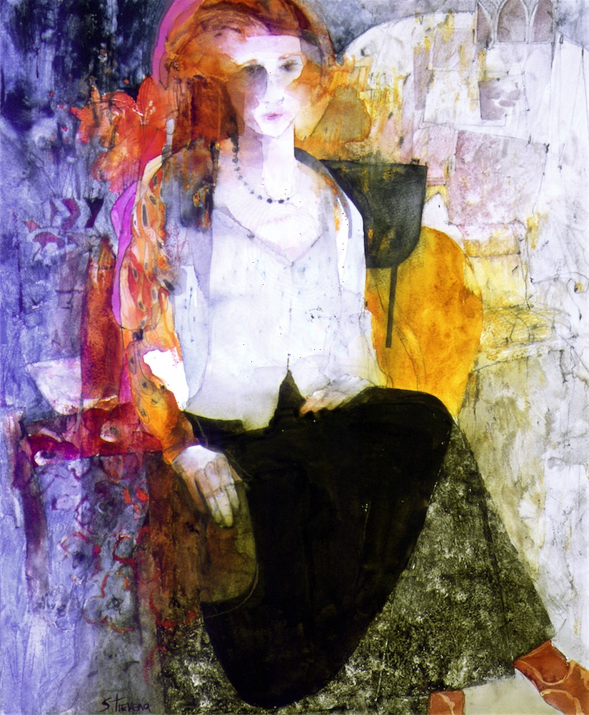 Girl in Black Silk Skirt