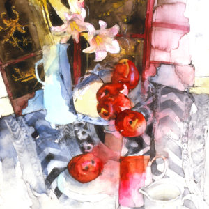 Blue Vase & Red Apples print