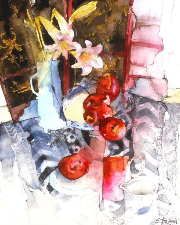 Blue Vase & Red Apples print