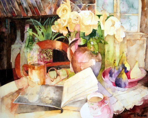 Cream Roses & Figs Print