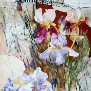 Irises by the Rock Print