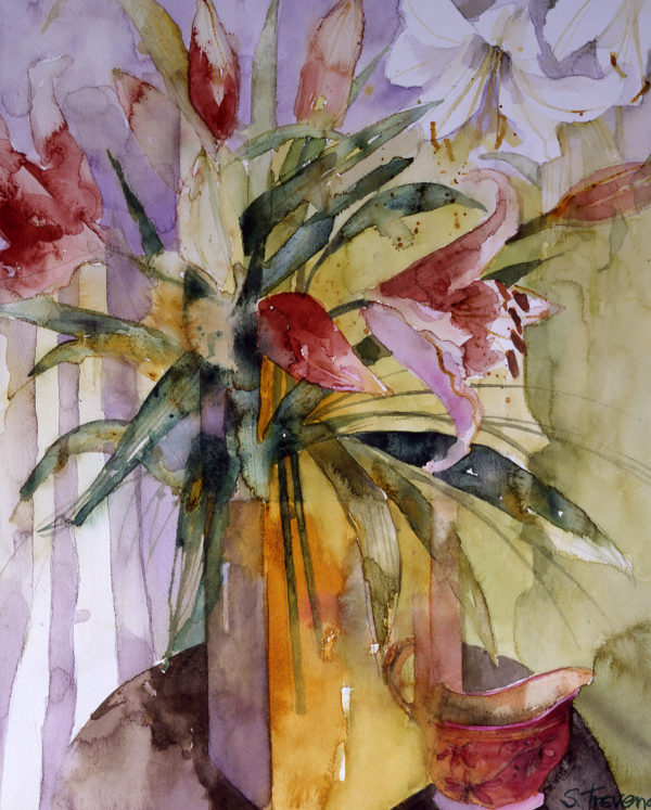 Lilies in a Yellow Vase Print