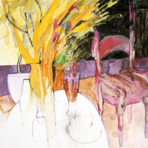 yellow-flowers-pink-chair